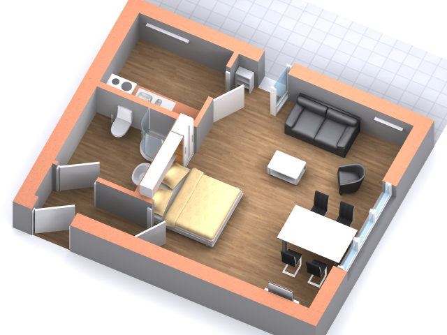 Appartment 3D Grundriss Austernfischer Ferienappartment